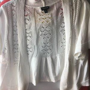 Short sleeve white cardigan